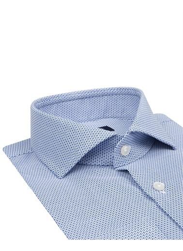D'S Damat D'S Damat 9Hf02Ke21185 Dik Yaka Uzun Kol Slim Fit Desenli Erkek Gömlek Mavi